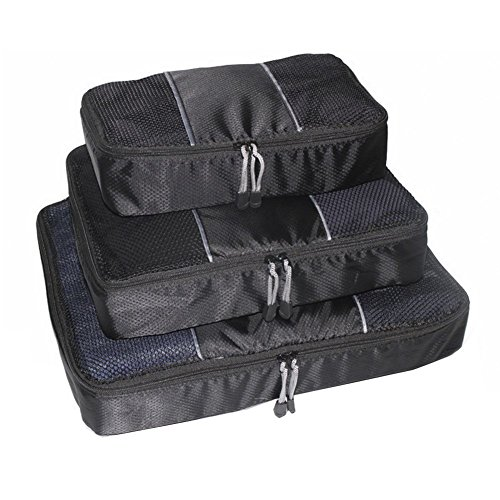 Bestland 3 Pcs Verpackung Cubes Kofferorganizer Packtaschen Koffer Wäschtaschen Kleidertaschen Luggagebags Packwürfel Set Haushaltsware Reise Pack, Schwarz