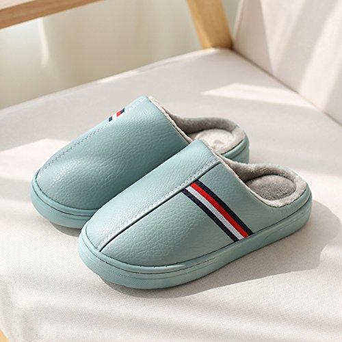DogHaccd pantofole,Autunno Inverno piscina home spessa, antiscivolo per gli uomini e le donne del cotone pantofole coppie incantevole casa soggiorno caldo pantofole in pelle Il blu dell'acqua.3