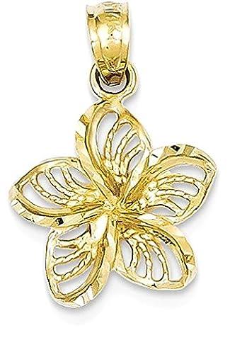 IceCarats 14k Yellow Gold Filigree Plumeria Necklace Pendant Charm