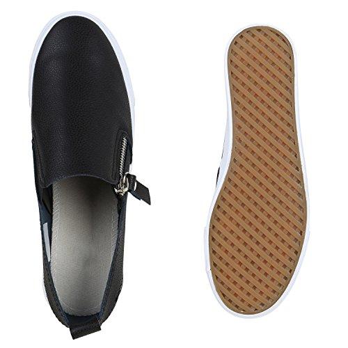 Slip-Ons Damen Zipper Sneakers Slipper Freizeit Flats Schwarz