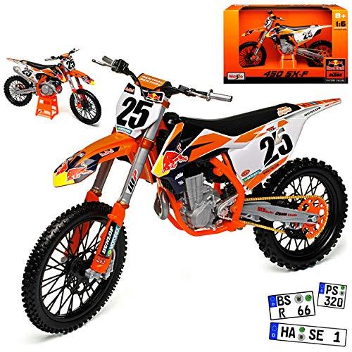 Maisto K-T-M 450 SX-F Nr 25 Marvin Musquin Motocross 1/6 Modell Motorrad mit individiuellem Wunschkennzeichen (1 6 Motorrad)