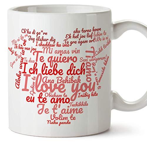 MUGFFINS Tazas Desayuno Originales para Enamorados, Regalos de Pareja, Novios, San Valentín - Te Quiero/I Love You/múltiples Idiomas - Tazas de cerámica con Frases