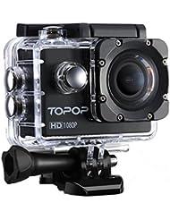 Caméra Sports/TopElek Caméra embarquée étanche 30m Haute Définition/Caméra Action Sport avec 12MP image, Full HD 1080p à 30fps Vidéo,170 °Grand-Angle,30m Etanche,2 pouces LCD Display,Accessoires multiples