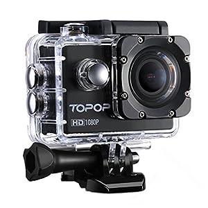 Caméra Sports/TopElek Caméra embarquée étanche Haute Définition/Caméra Action Sport avec 12MP image, Full HD 1080p à 30fps Vidéo,30m Etanche,2 pouces LCD Display,170 °Grand-Angle,Accessoires multiples