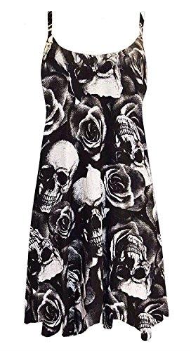 Chocolate Pickle ® Nouveau femmes Femmes plus Taille le Cami à bretelles Plaine Tops longue Robe trapèze 36-54 Skull Roses