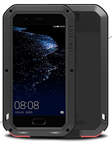 LOVE MEI Case for HUAWEI P10 (5.1 inch), Waterproof Shockproof Dustproof Powerfull Aluminum Metal with Tempered Glass Cover [Two-Years Warranty] Black Screen Protector Black Crystal