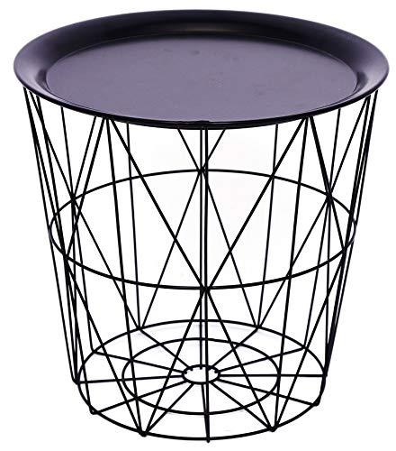 Beistelltisch / Korb mit Abdeck-Tablett, aus geometrisch angeordneten schwarzen Metalldraht-Stäben, rund, ideal auch als Nachttisch
