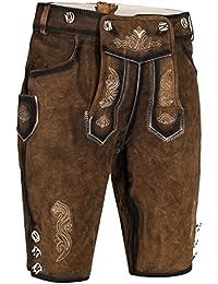 Herren Trachten Lederhose kurz | inklusive Träger schwarz, braun, gespeckt | 100% Leder |