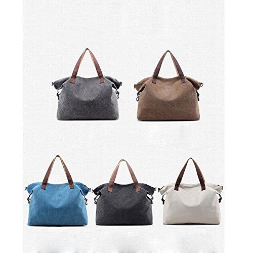 Leinwand All-Spiel Damen Einfach Retro Elegant Große Kapazität Handtasche Einzelne Schulterbeutel Blue
