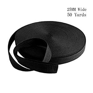 51DheZx8S7L. SS300  - RETON 50 Yards Black Nylon Heavy Polypro Webbing Strap (25mm)