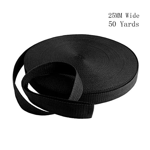51DheZx8S7L. SS500  - RETON 50 Yards Black Nylon Heavy Polypro Webbing Strap (25mm)