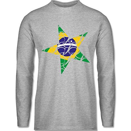 Länder - Brasilien Stern - Longsleeve / langärmeliges T-Shirt für Herren Grau Meliert