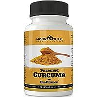 Mount Natural Curcuma Kapseln Hochdosiert, Vegan. Kurkuma Pulver + 95%ig Curcumin Extrakt (Entspricht Ca. 10.000mg/Tag) + Bioperine Piperin, Laborgeprüft, 90 St