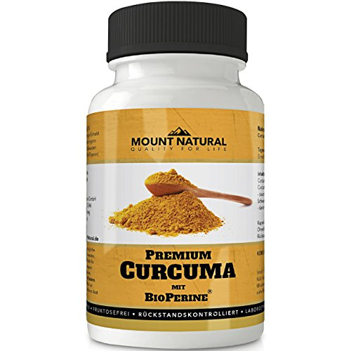 Mount Natural Curcuma Kapseln Hochdosiert, Vegan. Kurkuma Pulver + 95% ig Curcumin Extrakt (Entspricht Ca. 10.000mg/Tag) + Bioperine Piperin, Laborgeprüft, 90 St