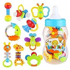 Idea Regalo - NUOLUX Giocattoli Sonagli Shake Rattle per Neonati Bambini 9 pezzi (colore casuale)