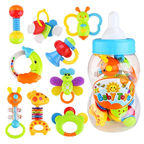 NUOLUX Tambourin Instruments de musique jouet musical pour Bébé 9 pièces (couleur aléatoire)