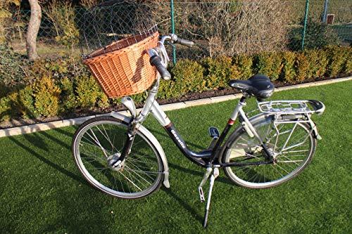 Marcus-Hundefahrradkorb für Fahradlenker aus Weide mit Metallgitter und Kissen XL oder XXL Natur Weidenkorb Lenkerkorb für Fahrrad (XXL mit Kissen)