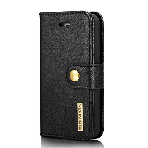 iPhone SE 5SE 5 5S Case Cover LifeePro [Anti-Scratch] Cowhide Leather Case Flip Wallet Card Slots Cover for iPhone SE 5SE 5 5S Coffee Black