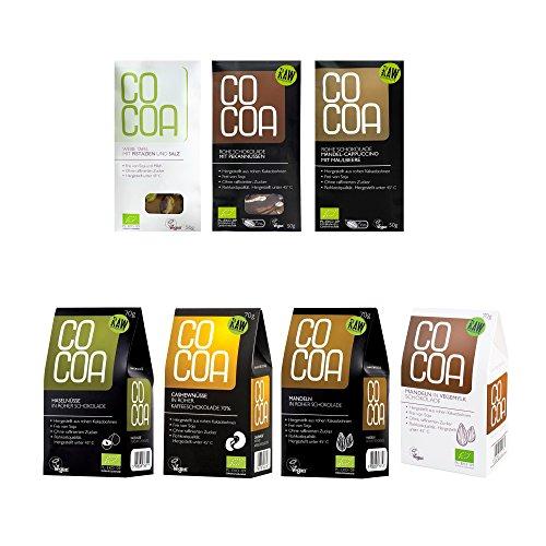 chokoladen Mix-Paket für Nussliebhaber | Hergestellt aus Rohen Ungerösteten Kakaobohnen bei unter 45 °C | Sorgfältig mehr als 60 Stunden Conchiert | mit Kokosblütenzucker Gesüßt | Vegan, Glutenfrei, Laktosefrei, Roh (Vegane Weiße Schokolade Bars)