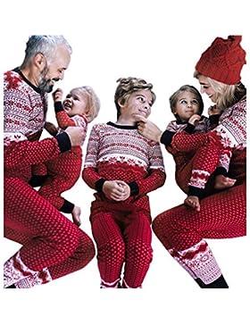 Meijunter Schneeflocke Drucken Familie Matching Weihnachten Nachtwäsche - Lange Ärmel und Hose Weihnachten Homewear...