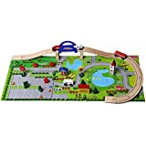 Trinkets & More - Train Track Set Rail Overpass (40 Pieces) | DIY Kit Reassemble Set | Wooden Building Block Toys for Kids 3 Years +