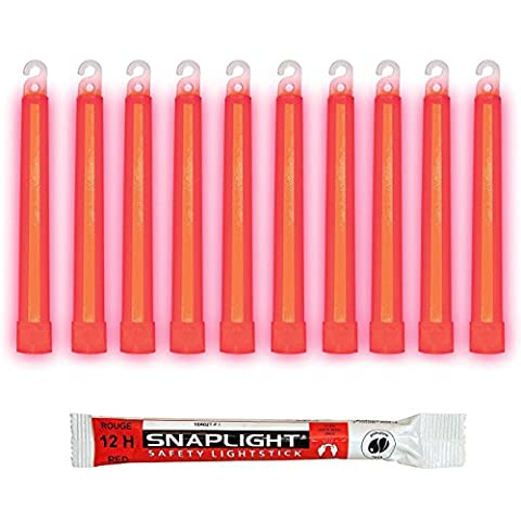 Cyalume SnapLight Red Glow Sticks – 6 Inch Industrial Grade, Ultra Bright Light Sticks with 12 Hour Duration (Pack of