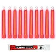 Cyalume Bâton lumineux rouge SnapLight Glow Sticks 15cm, Light Sticks très lumineux avec durée de 12 heures (Boite de 10)
