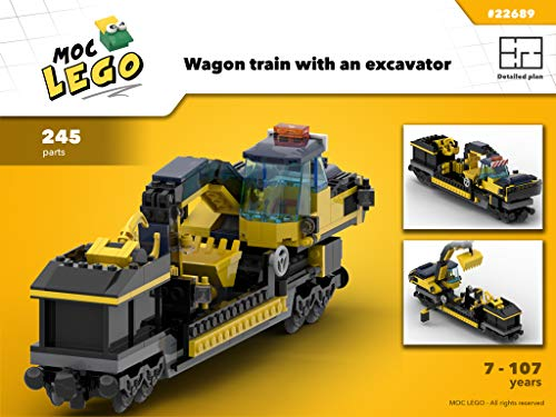 Train Wagon With Excavator (Instruction Only): MOC LEGO (English Edition)