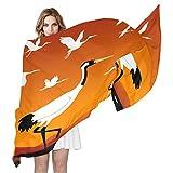 COOSUN Fliegende Kraniche Seidenschal Leichte lange Schal-Schal-Verpackung für Frauen 90x180? CM? mehrfarbig