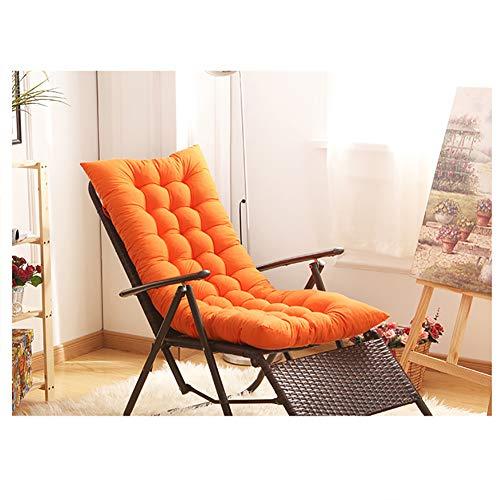 Chaise Lounge Kissen, Lounge Stuhl Kissen Terrasse Lange Stuhl-Kissen Bench Kissen Mit Krawatten Für Garten Outdoor Indoor Sofa Boden-orange 155x48x8cm(61x19x3inch)