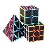 Roxenda Ensemble Speed Cube, Pyramid 2x2x2 3x3x3 Vitesse Cube de Magique; Autocollant Spin Lisse Super Durable avec des Couleurs Vives pour; Facile à Tourner et à Lisser (Fibre de Carbone)