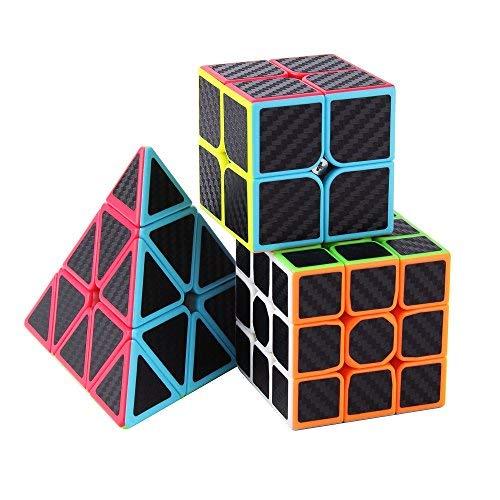 l Set, Zauberwürfeln-Serie von 2x2x2 3x3x3 Pyramid Cube Würfel Smooth Zauberwürfeln (Kohlefaser) ()
