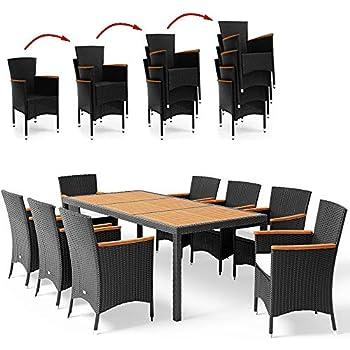 De Table Accourdoirs En Noir D'acacia 1 Résistant Chaises Jardin Polyrotin DeubaSalon Empilables 8 • 8 Ensemble Et Bois Aux W29EIHYeDb