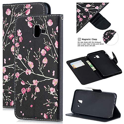Mosoris cover per samsung galaxy j6 plus 2018, crossgrain pu+tpu portafoglio custodia in pelle con porta carte, funzione stand flip case con porta-carte di credito e porta-biglietti da visita
