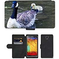 Grand Phone Cases PU Leather Flip Custodia Protettiva Case Cover per // M00141021 Canada Goose Goose Chicks Animaux // Samsung Galaxy Note 3 III N9000 N9002 N9005