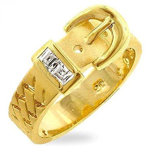 ISADY - Adèle Gold - Bague Femme - Oxyde de zirconium - Boucle de ceinture - Taille 62