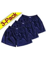 (L) 3 shorts pour Dark Blue Hommes Boxer Shorts Sous-vêtements Vêtements de nuit en satin