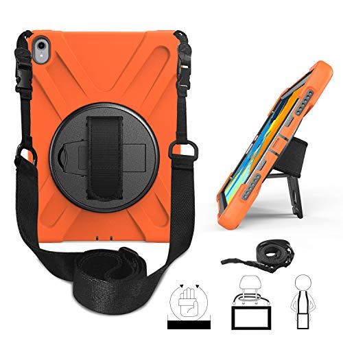 """TianTa iPad Pro 11\"""" 2018 Release Hülle 3 in 1 Hybrid Tasche Schutzhülle Stoßfeste mit 360 Grad Drehbar Kickstand & Handschlaufe, Schultergurt Coverfür Apple iPad Pro 11 Inch 2018 - Orange"""
