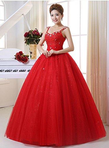 Eyekepper Robe perlee Spaghetti une balle de mariage robe de mariee Taille personnalisee Rouge