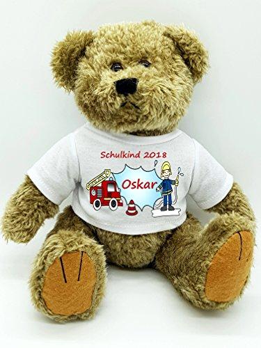 Kinderlampenland personalisierter Bär Plüschtier Feuerwehr für die Zuckertüte Schultüte mit Wunschname zur Einschulung Glücksbringer