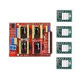Kingprint CNC Shield d'extension V3.0pour Arduino avec 4pcs A4988pilote de moteur pas à pas avec dissipateur thermique Kits pour Arduino