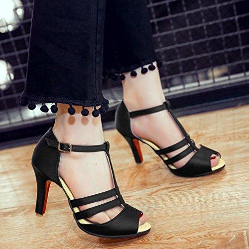 YE Damen Satin T-spangen Peep Toe Stiletto High Heel Sandalen mit 8cm Absatz Pumps Schuhe Schwarz