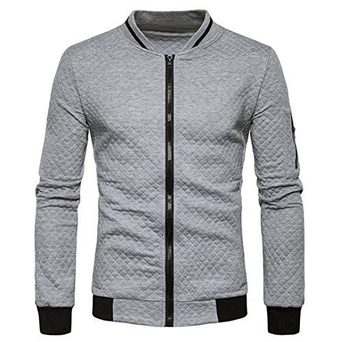 BaZhaHei Herren Langarm Plaid Cardigan Zipper Sweatshirt Tops Jacke Mantel Outwear Reißverschluss Strickjacke Gitter Sweatshirt