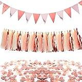 Oro Rosa Festa Decorazioni Set, Triangolo Bandiere Pavese Bandiera Ghirlanda di Carta Nappe e Cerchi di Carta Coriandoli Coriandoli da Tavola per Matrimonio Compleanno