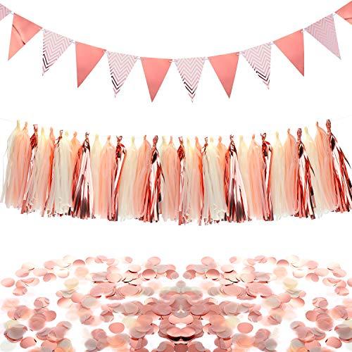 Chuangdi Rose Gold Party Dekorationen Set, Dreieck Flags Bunting Pennant Banner Papier Quasten Garland und Papier Konfetti Kreise Tabelle Konfetti für Hochzeiten Geburtstag