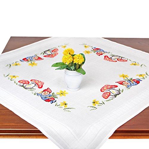 Stickpackung GARTENZWERG, Komplettes vorgezeichnetes Kreuzstich Tischdecken Set Zum Sticken, Stickset mit Stickvorlage