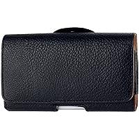 HTC Desire Eye/HTC Desire 620G Funda Luxury Carcasa Eco Piel Negra con trabilla para cinturón