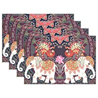 ALARGE Place Mats Set of 6, Indian Ethnic Tribal Elephant Placemat Washable Heat and Stain Resistant Table Mat Kitchen Dining Table Decoration
