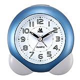 Lancardo Jungen Alarm Clock, Glockenwecker Analog Quarzwecker mit Luminous Ziffer, Lauter Alarm,kein Ticken geräuschlos Alarm Wecker,blau weiss