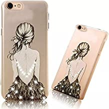 iPhone 7 Transparent PC Case Couverture Ultra-mince Motif Coréen Shell Housse iPhone 7 4.7 Pouces Etui Shock-Absorption Bumper et Anti-Scratch Effacer Back Hull Cover,Vandot iPhone 7 Coque PC Plastique Dur Hard Bumper-Croquis de fille
